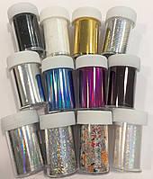 Набор переводной фольги для литья в баночках, цветная, фото 1