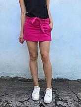 XS, S Яркая коттоновая юбка-мини с поясом в комплекте в салатовом и малиновом цветах