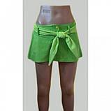 XS, S Яскрава коттоновая спідниця-міні з поясом в комплекті в салатовому і малиновому кольорах, фото 3