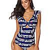 9065 Купить женский купальник Синий с белым полосатый