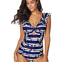 9065 Купить женский купальник Синий с белым полосатый, фото 1