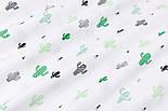"""Ткань муслин """"Кактусы в белой пустыне"""" зелёные на белом, ширина 160 см, фото 4"""
