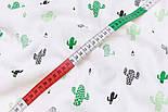 """Ткань муслин """"Кактусы в белой пустыне"""" зелёные на белом, ширина 160 см, фото 5"""