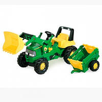Rolly Toys Детский трактор педальный с прицепом Junior John Deere