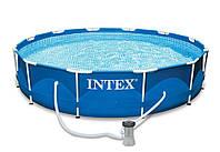 Бассейн с металлическим каркасом Intex 28212 NP с фильтр-насосом Синий (0120487jdfg)
