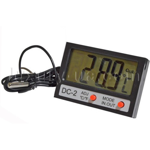 Термометр цифровой с выносным датчиком и часами питание от батарейки