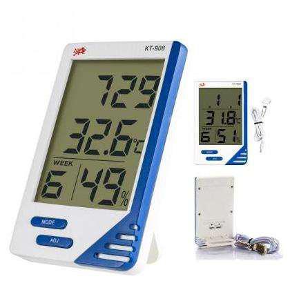 Термометр электронный с гигрометром, часами, будильником, календарём и выносным датчиком, питание от батарейки