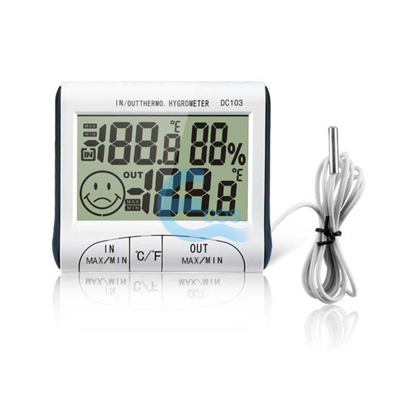 Портативный цифровой термометр с гигрометром и выносным датчиком, подставка на стол, питание от батарейки ААА