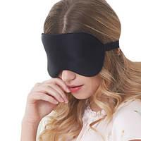 Маска для сна шелковая, повязка для сна из шелка черного цвета