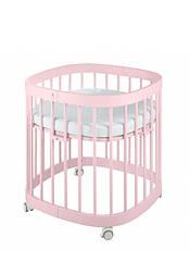 Кроватка Tweeto 7в1 круглая розовая