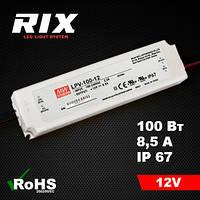 Блок питания для светодиодов Mean Well 100W 12V IP67 8,5A (LVP -100-12)