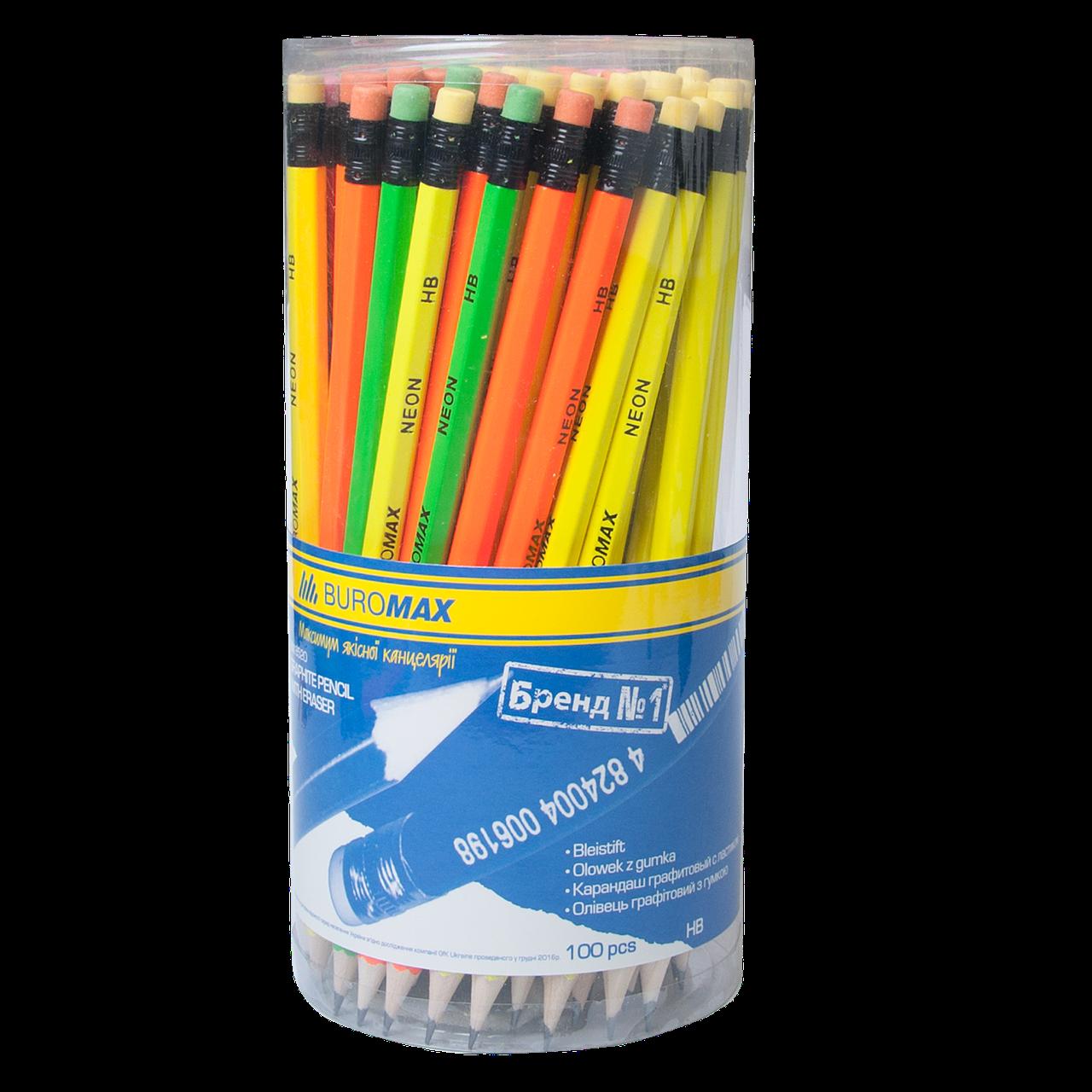 Карандаш графитовый Buromax NEON HB, желтый, с резинкой