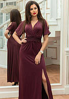 Платье длинное макси в пол с разрезом на ноге с декольте с разрезом на плечах вечернее ( выпускное ) к низу расклешенное ( клеш ) Цвет : Баклажан (