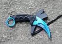 Серповидный нож - керамбит Хамелеон синий, тигра/ лапа петуха, тренировочный карамбит, отличный подарок, фото 5