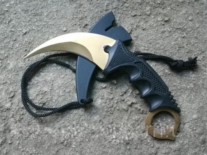 Серповидный нож - керамбит Золотой, тигра/ лапа петуха, тренировочный карамбит, отличный подарок