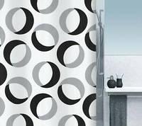 Шторка д/ванної RINGS polyester 180х200 сіро-чорна_10.15184