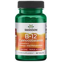 B-12 Цианокобаламин Swanson Triple Action B-12 1.000 мкг 90 таблеток