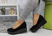 Туфли женские на танкетке, черные, материал - замша, код SL-896