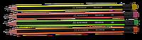 Карандаш графитовый Buromax NEON HB с резинкой, черно-неоновый