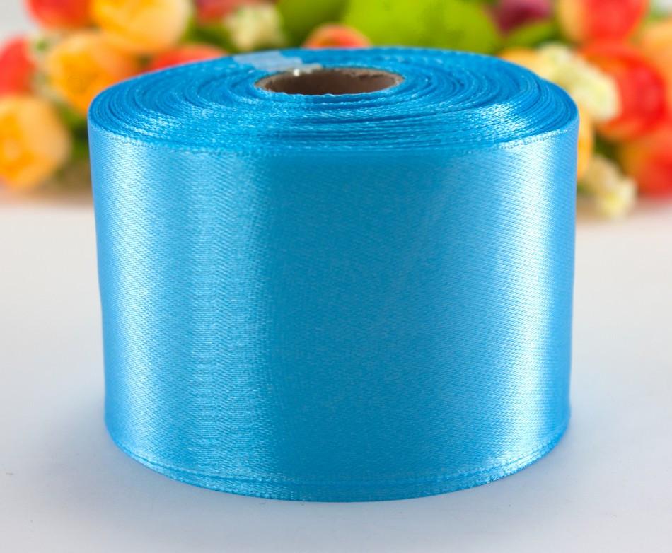 "Лента атласная 5см ширина (25 ярдов) ""LiaM"" Цена за рулон. Цвет - Голубой"