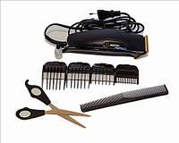 Машинка для стрижки волос Gemei GM806 с титановыми ножами 4 насадки + ножницы