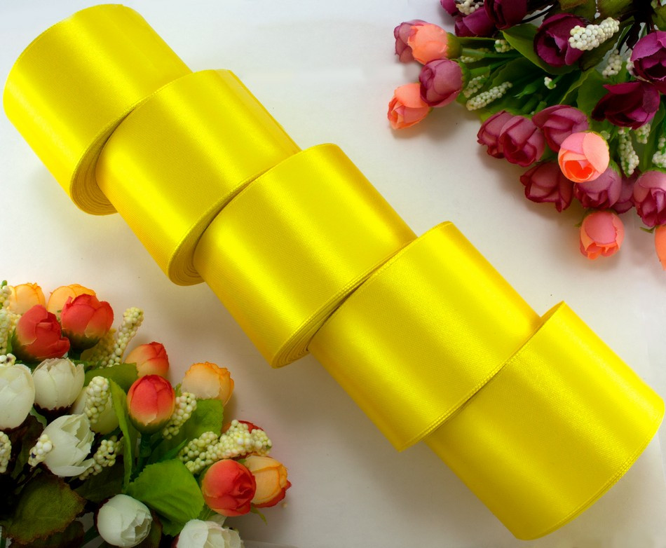 "(5 рулонов) Лента атласная 5см ширина (25 ярдов) ""LiaM"" Цена за блок Цвет - Желтый"
