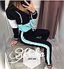 Женский спортивный костюм весна-осень длинный рукав Два лампаса (42 44 46 48) (цвет черный с голубым) СП