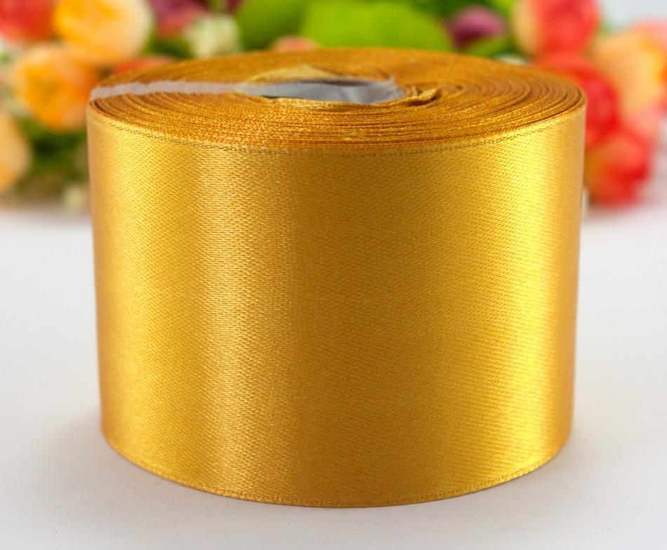 """Лента атласная 5см ширина (25 ярдов) """"LiaM"""" Цена за рулон. Цвет - Золотистый"""
