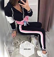 Женский спортивный костюм весна-осень длинный рукав Два лампаса (42 44 46 48) (цвет черный с розовым) СП
