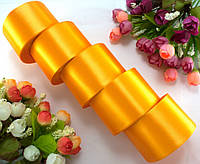 """(5 рулонов) Лента атласная 5см ширина (25 ярдов) """"LiaM"""" Цена за блок Цвет - Светлый оранжевый"""