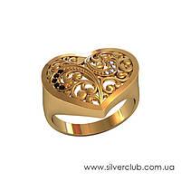 Золотое кольцо в виде сердца