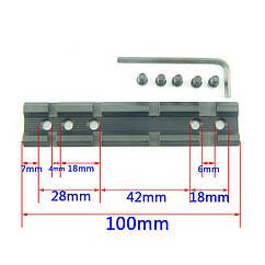 Планка Вивер для крепление оптического/ коллиматорного прицела, фонаря, лазера, ЛЦУ 21 мм