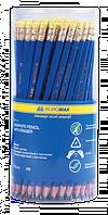 Карандаш графитовый Buromax  JOBMAX HB пластиковый, с резинкой, синий