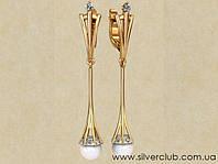 Длинные сережки с жемчугом из золота