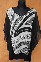Шифоновая блуза большого размера черно-белая, р.54-58