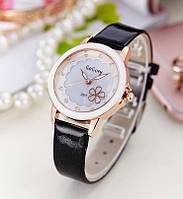 Женские наручные часы с цветочком Daisy black