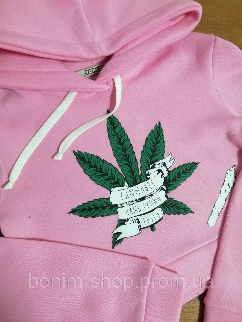 Розовый короткий худи