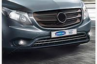Накладки на решітку бампера (2 шт., нерж) Віто 447 (Mercedes Vito / V W447 2014+ рр.)