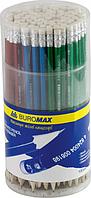 Карандаш графитовый Buromax HB с резинкой, металлик