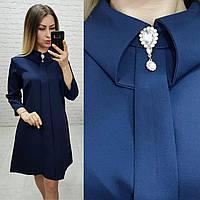 Платье с брошкой, модель 770, цвет - темно синий