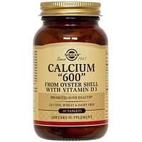 """Кальций из раковин устриц, Calcium """"600"""", Solgar, 60 Таблеток"""