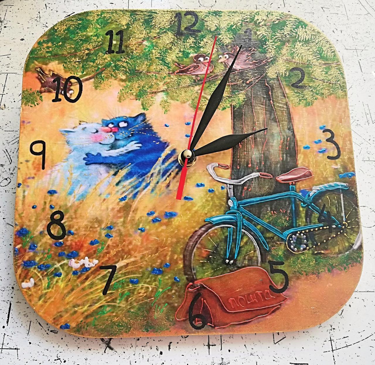 Настенный часы интерьерные с котами 287 ручная роспись