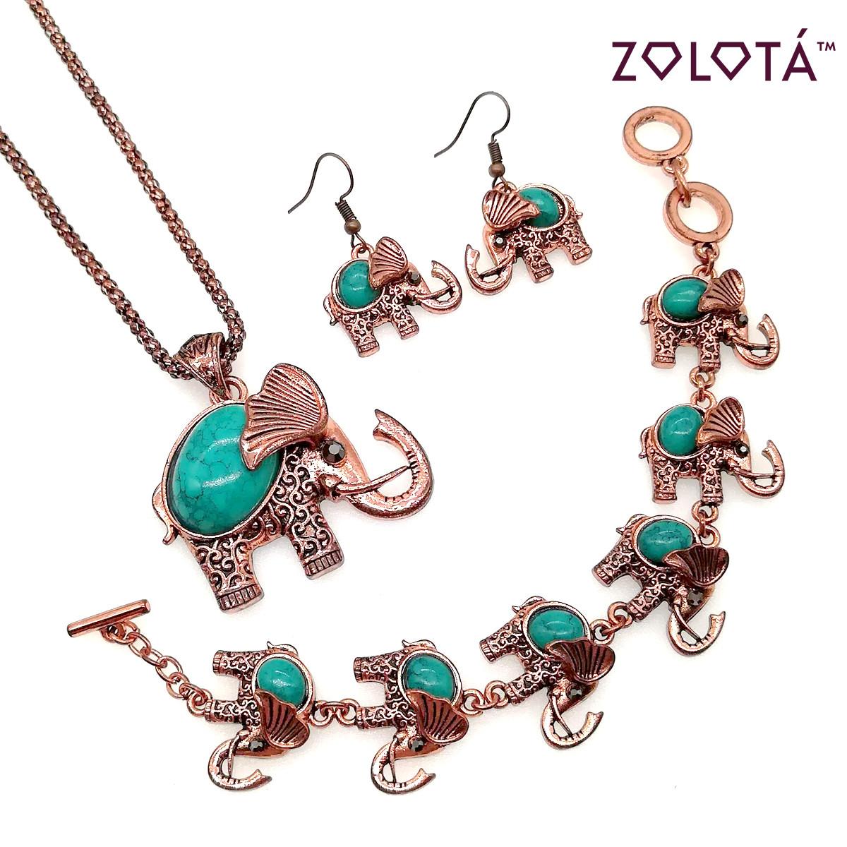 """Набор """"Слон"""" с прессованной зеленой бирюзой (подвеска на цепочке, браслет, серьги), в позолоте, НБ00108 (1)"""