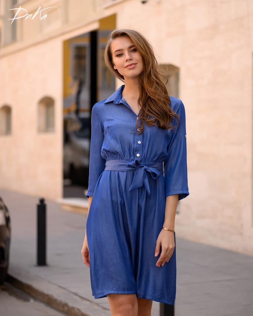 Платье женское короткое из джинса с рубашечным воротником и рукавом в 3/4 (К28342)