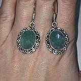 Сережки з каменем смарагдовий кварц в сріблі. Сережки з смарагдовим кварцом Індія, фото 3