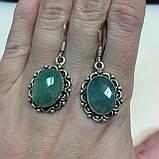Сережки з каменем смарагдовий кварц в сріблі. Сережки з смарагдовим кварцом Індія, фото 2
