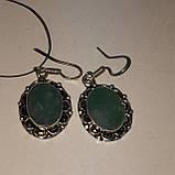 Сережки з каменем смарагдовий кварц в сріблі. Сережки з смарагдовим кварцом Індія, фото 4