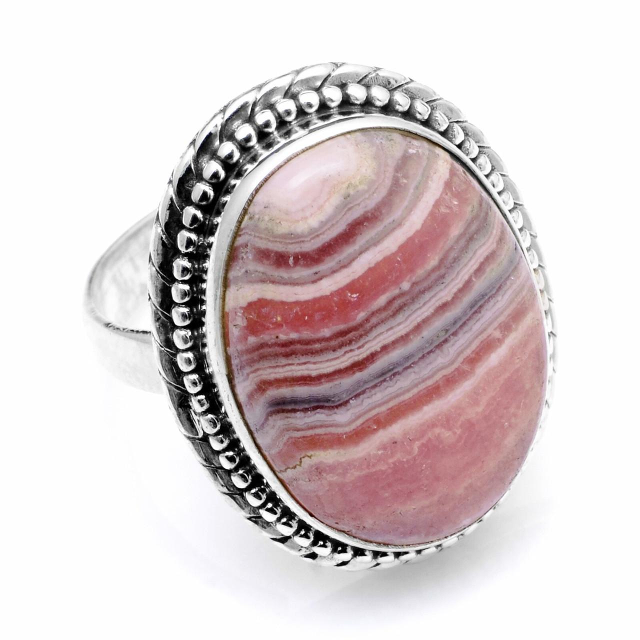 Кольцо из серебра с родохрозитом, 20*15 мм., 1051КР