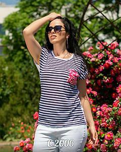 Женская футболка в полоску. Ткань катон. Размер м,л,хл,ххл.
