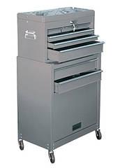Шкаф для инструмента Matrix 2-секционный 600х260х340 мм, 616х330х658 мм, на колесах, 14 ящиков